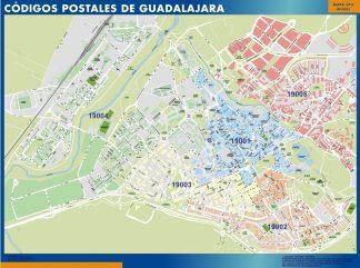 Guadalajara códigos postales enmarcado plastificado
