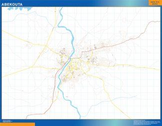 Mapa Abekouta en Nigeria enmarcado plastificado