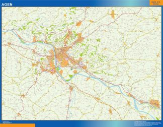 Mapa Agen en Francia enmarcado plastificado