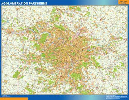 Mapa Agglomeration Parisienne en Francia enmarcado plastificado