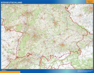Mapa Alemania sur carreteras enmarcado plastificado