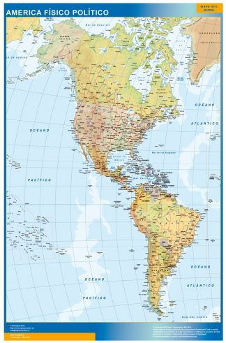 Mapa America enmarcado plastificado