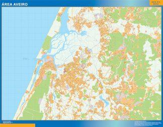 Mapa Aveiro área urbana enmarcado plastificado