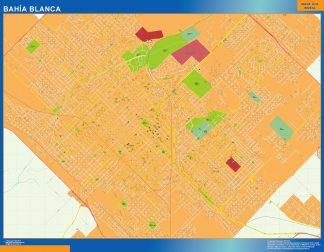 Mapa Bahia Blanca en Argentina enmarcado plastificado
