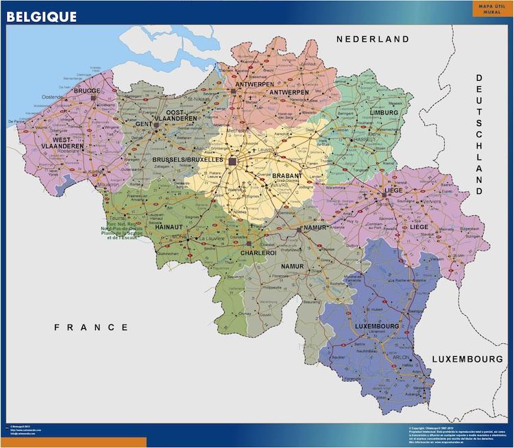 Mapa Belgica Plastificado Velleda Mapas De Pared
