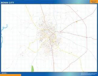 Mapa Benin City en Nigeria enmarcado plastificado