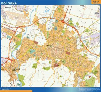 Mapa Bologna enmarcado plastificado