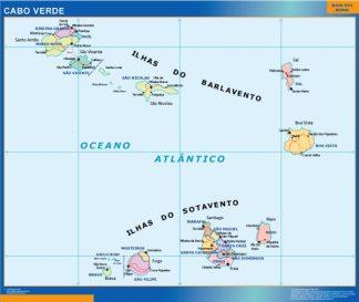 Mapa Cabo Verde enmarcado plastificado