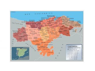 Mapa Cantabria por municipios enmarcado plastificado