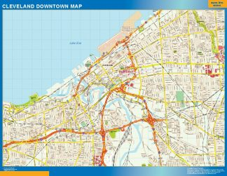 Mapa Cleveland downtown enmarcado plastificado