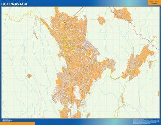 Mapa Cuernavaca en Mexico enmarcado plastificado