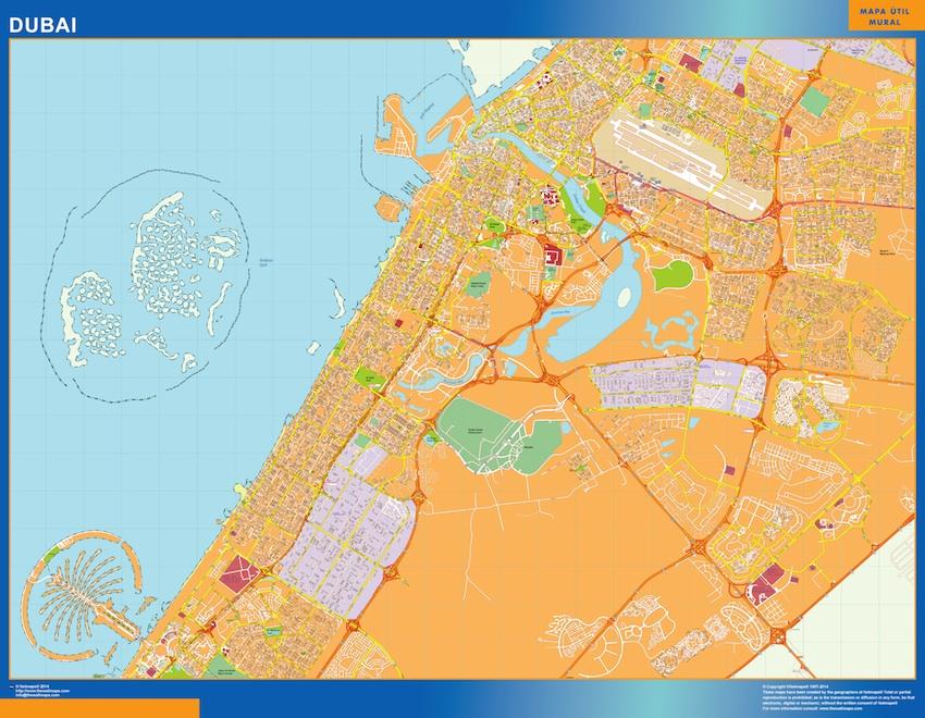 Mapa Dubai Enmarcado Plastificado Mapas De Pared