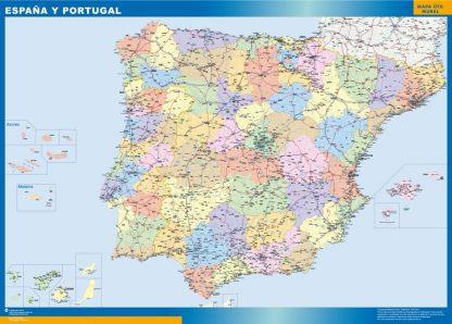 Mapa España básico enmarcado plastificado