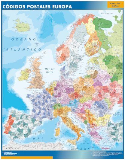 Mapa Europa Codigos Postales enmarcado plastificado