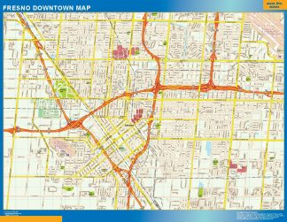 Mapa Fresno downtown enmarcado plastificado