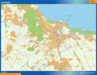 Mapa Gdansk Polonia enmarcado plastificado