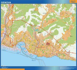 Mapa Genova enmarcado plastificado