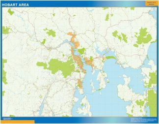 Mapa Hobart Area Australia enmarcado plastificado