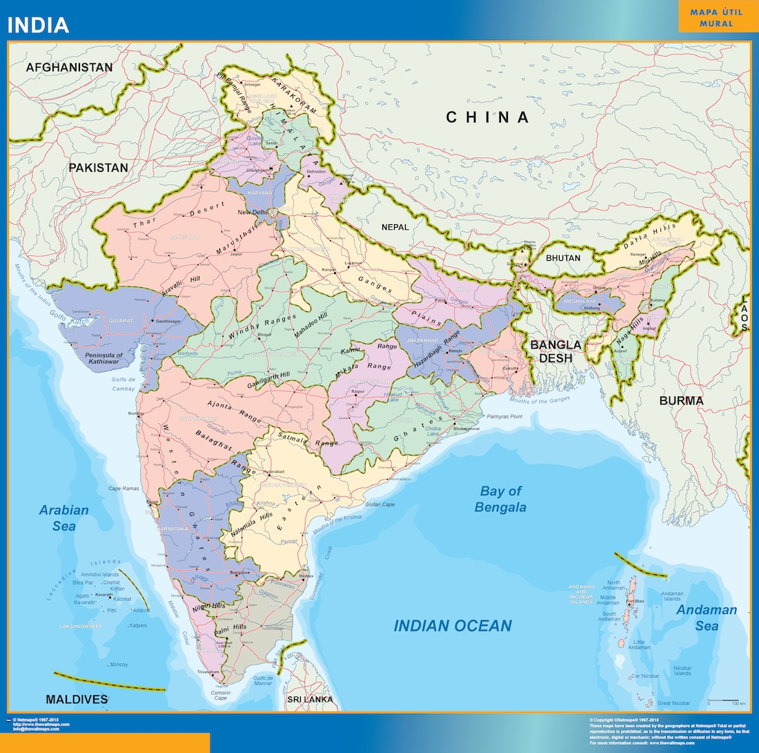 Mapa De La India En El Mundo.Mapa India Vinilo Adhesivo