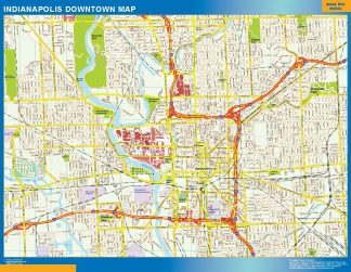 Mapa Indianapolis downtown enmarcado plastificado