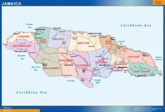 Mapa Jamaica enmarcado plastificado