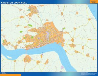Mapa Kingston Upon Hull enmarcado plastificado
