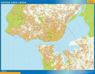 Mapa Lisboa Grande Area en Portugal enmarcado plastificado