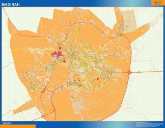 Mapa Madinah en Arabia Saudita enmarcado plastificado