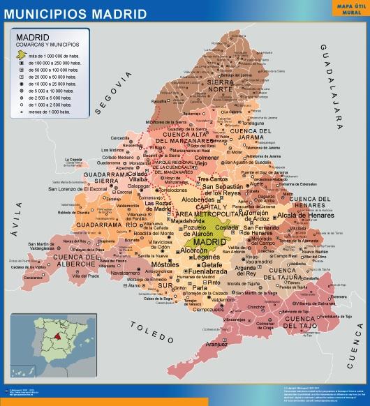 Mapa Madrid Por Municipios Mapas De Pared