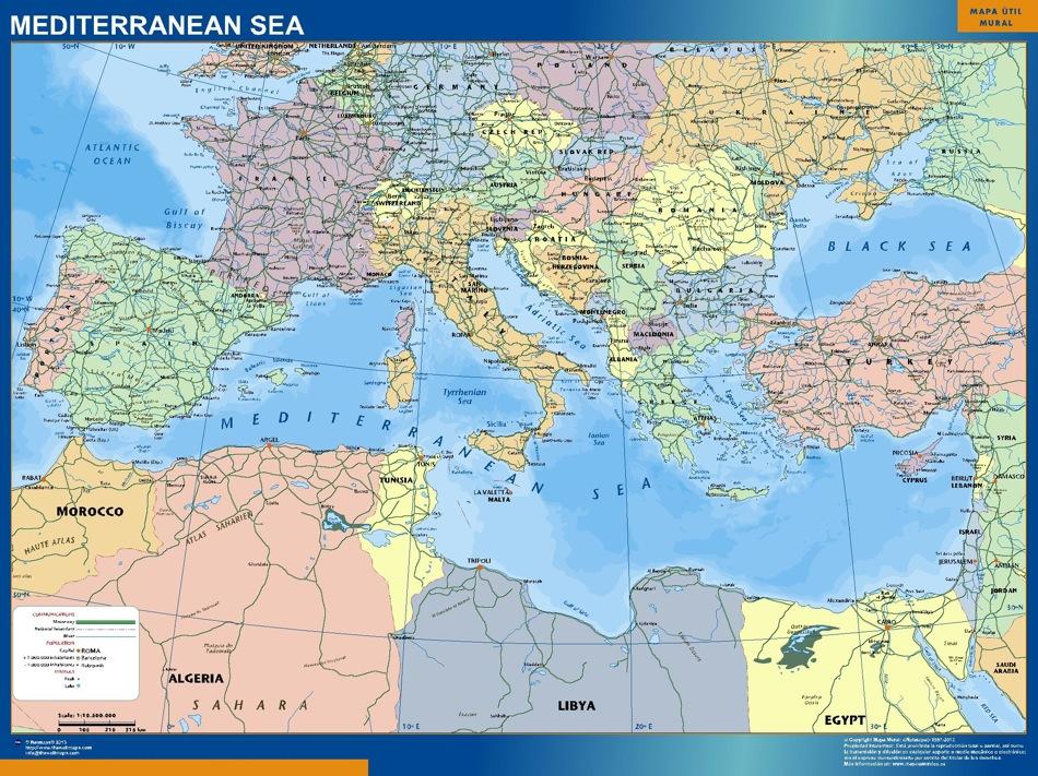 Mapa Mar Mediterraneo Enmarcado Plastificado Mapas De Pared