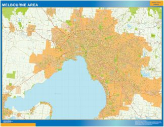 Mapa Melbourne Area Australia enmarcado plastificado