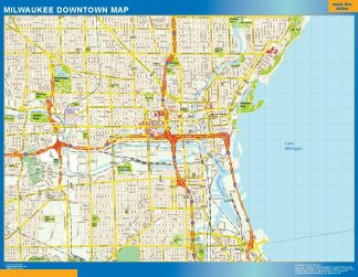 Mapa Milwaukee downtown enmarcado plastificado