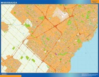Mapa Mississauga en Canada enmarcado plastificado
