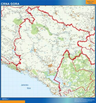 Mapa Montenegro enmarcado plastificado