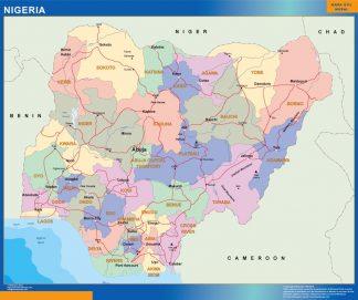 Mapa Nigeria enmarcado plastificado