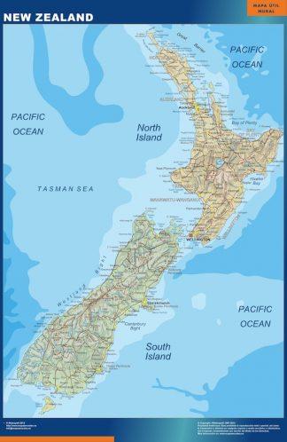 Mapa Nueva Zelanda enmarcado plastificado