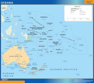 Mapa Oceania enmarcado plastificado