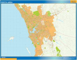 Mapa Perth Area Australia enmarcado plastificado