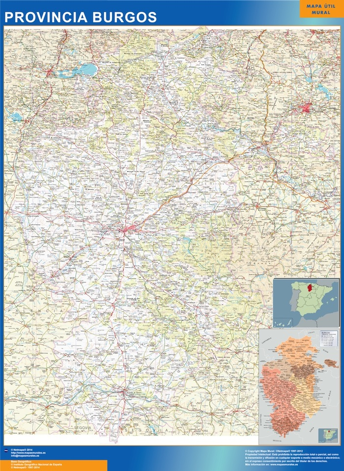 Mapa Provincia Burgos Enmarcado Plastificado Mapas De Pared