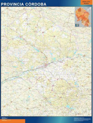 Mapa Provincia Cordoba enmarcado plastificado