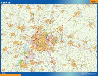 Mapa Rennes en Francia enmarcado plastificado