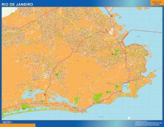 Mapa Rio de Janeiro Brasil enmarcado plastificado