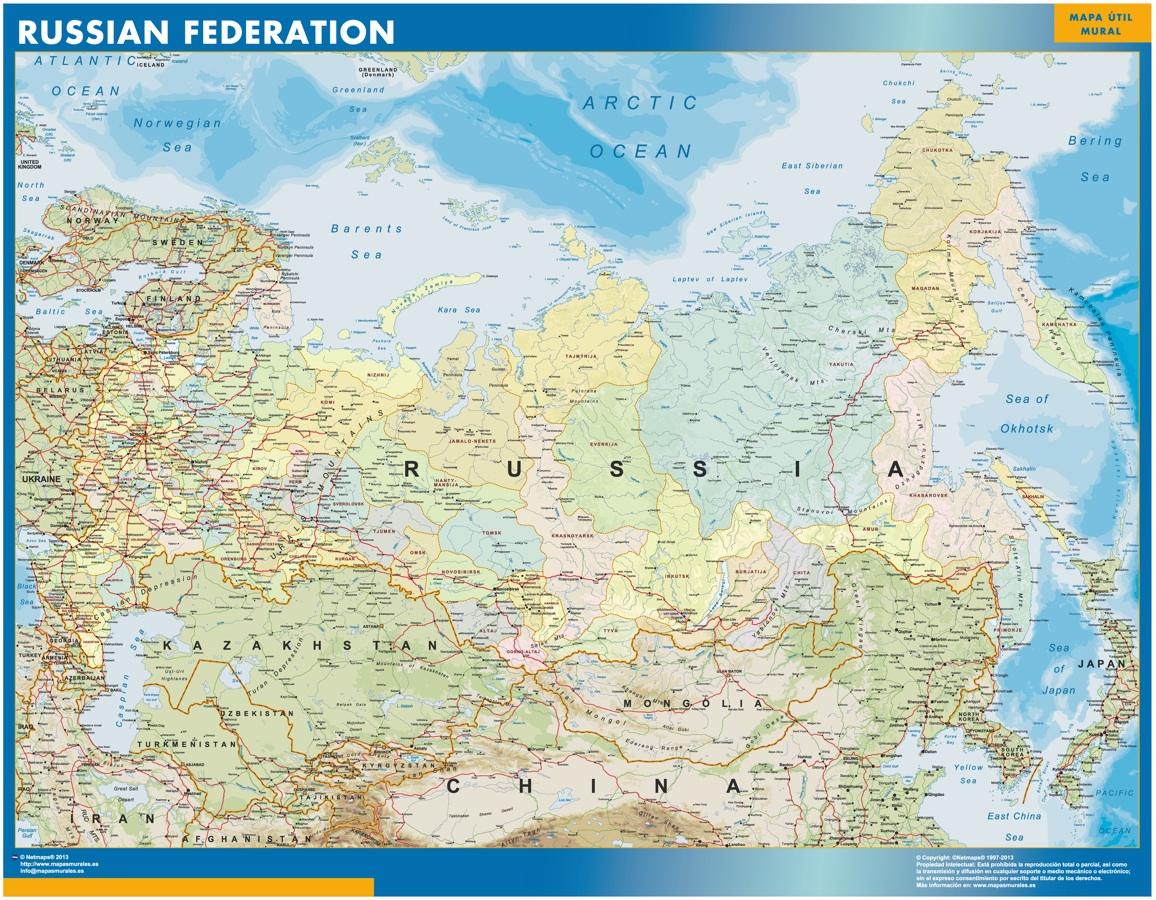 Mapa Rusia Mapas De Pared