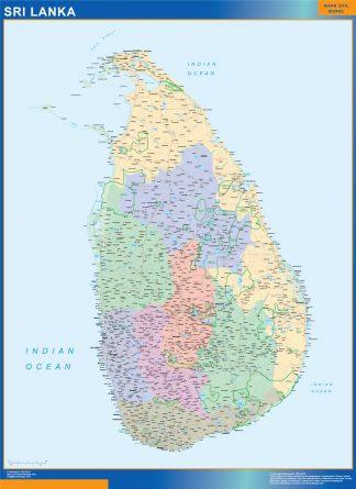 Mapa Sri Lanka enmarcado plastificado