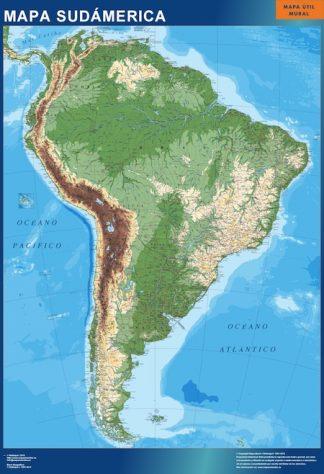 Mapa Sudamerica físico enmarcado plastificado