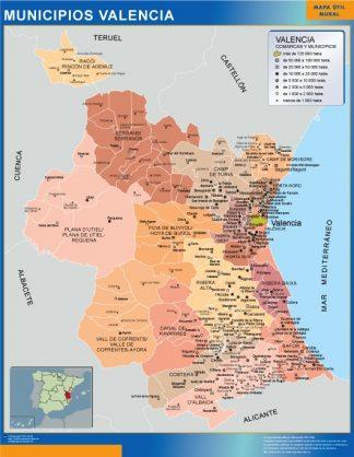 Mapa Municipios De Valencia.Mapa Valencia Por Municipios Plastificado Velleda