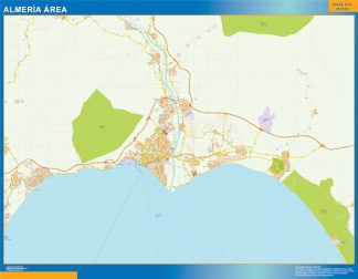 Mapa carreteras Almeria Area enmarcado plastificado