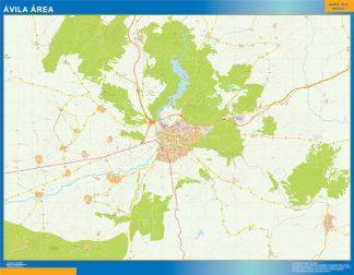 Mapa carreteras Avila Area enmarcado plastificado
