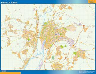 Mapa Carreteras Sevilla Area Enmarcado Plastificado Mapas De Pared
