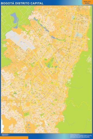 Mapa de Bogota Distrito Capital en Colombia enmarcado plastificado